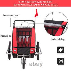 2 in 1 Bicycle Child Carrier 2-Seater Baby Trailer Stroller Jogger Kit Red