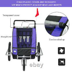 2 in 1 Bicycle Children Trailer Baby Stroller 2 Seater Carrier Jogger