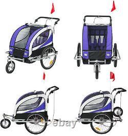 2-in-1 Children's Bike Trailer Double Seat Push Stroller Travel Carrier Purple