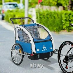 2-in-1 Kids Push Stroller Carrier Bike Trailer Outdoor Jogger Foldable Blue Grey