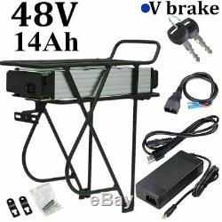 48V 14Ah 1000W Rear Rack Carrier E-bike Electric Bicycle Li-ion Battery V Brake