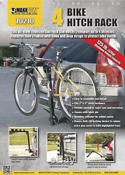 4 Bicycle Bike Hitch Mount Carrier Rack 2 Inch Receiver Car Truck Trailer Steel