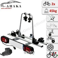AHIRO2 Towbar Mounted 2 Bike Rack Cycle Carrier Tilting Theft Protection 13 pin