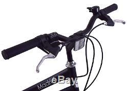 Ammaco Madrid 700c Mens Hybrid City Bike 7 Speed & Carrier Rack Black 23 Frame