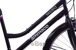 Ammaco Madrid 700c Womens Hybrid City 7 Speed Bike Carrier Rack Black 16 Frame