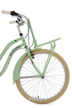 Beach Cruiser Bike 26 Ladies Melba Mint Green Front Carrier 6 Speed New 755B