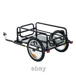 Bike Bicycle Cargo Trailer In Steel Frame-Black Luggage Transport Carrier Cart