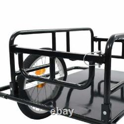 Bike Cargo Trailer Bicycle Cycling Camping Luggage Carrier Transport Steel Black