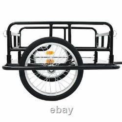 Bike Cargo Trailer Trolley Storage Carrier Cart Wagon 130x73x48.5 cm Steel Black