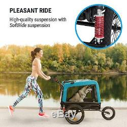 Bike Trailer Cargo 2-in-1 Transport bycicle cart foldable luggage carrier Blue