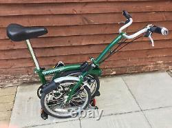 Brompton M3r Racing Green With Carrier 3 Speed Folding Bike Worldwide Postage