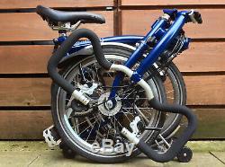 Brompton P-type P6r Blue Carrier 6 Speed Dyno Folding Bike Worldwide Postage