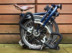 Brompton P-type P6r Blue Dynamo Carrier 6 Speed Folding Bike Worldwide Postage