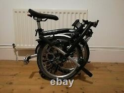 Brompton S6L 2019 Folding Bike Black + Toolkit + Carrier bag + front-rear lights