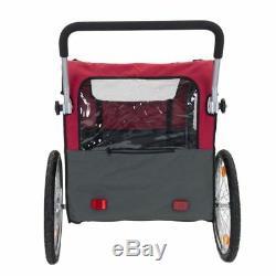 Dog Bike Trailer Pet Carrier Basket & Convertible Pushchair with 4 Viewing Windows