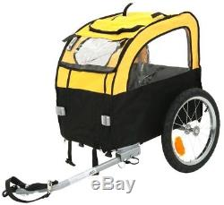 Dog Bike Trailer Pet Carrier Basket & Convertible Pushchair with Viewing Windows