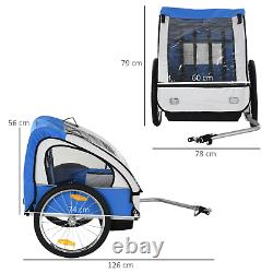 Double Kids Bike Trailer Twins Bicycle Blue Stroller Jogger Child Carrier Fold