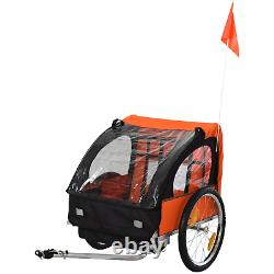 Double Kids Bike Trailer Twins Bicycle Stroller Jogger Child Buggy Carrier Fold
