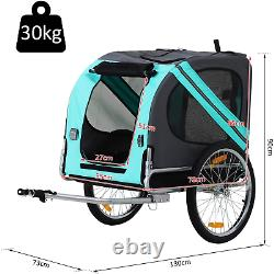Folding Dog Bike Trailer Pet Cart Carrier for Bicycle Travel in Steel Frame New