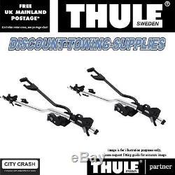 Genuine Thule Silver ProRide 598 Roof Mount Cycle Carrier Bike Rack x2 Inc Locks
