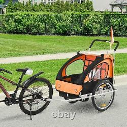 HOMCOM 2-in-1 Bicycle Baby Trailer/Stroller Jogger 2-Seater Child Carrier