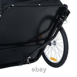 HOMCOM Folding Bicycle Storage Carrier Bike Trailer Cargo withHitch White & Black