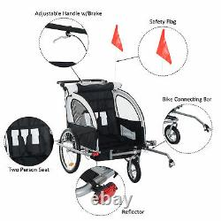 HOMCOM Multifunctional Baby Stroller Jogger Steel 2-Seater Child Bicycle Carrier