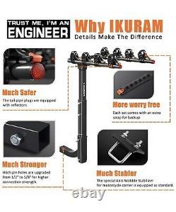 IKURAM 4 Bike Rack Bicycle Carrier Racks Hitch Mount Double Foldable Rack for Ca
