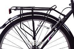 Madrid 700c Unisex Hybrid City Bike 7 Speed & Carrier Rack Black Small 16 Frame