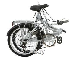 Mizani City Unisex 20 6 Speed Folding Bike Bicycle Silver Mudguards & Carrier