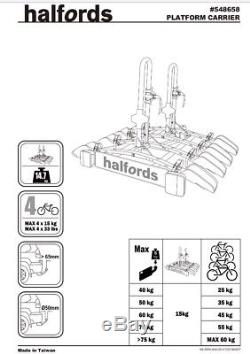 NEW Halfords 4 Bike Tow Bar Cycle Carrier Bike Bicycle Car Rack Cycling Read Des