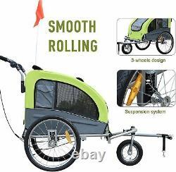 New Large Bike Dog Trailer Steel Pushchair Stroller Carrier Jogging Pet Ride New