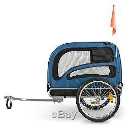 Pet Bike Trailer Transport Dog Carrier 250l 40kg Load Steel Frame Black Strong