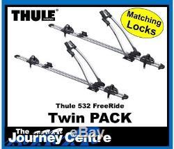 Thule 532 Cycle Carrier Freeride Roof Mount Bike Rack 4x Pack FREE LOCK MATCH