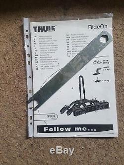 Thule RideOn 9502 Towbar Mount 2 Cycle Carrier Tow Ball Tilting Bike Rack