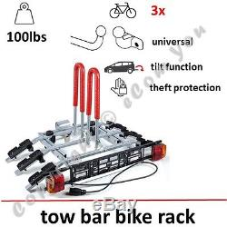 Towbar Mounted Bike Rack for Three Cycle Carrier Steel Hitch Mount High QUALITY