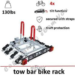 Towbar Mounted Tilting 4 Bike Rack / Four Cycle Carrier Steel / Hitch Mount