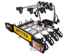 WITTER ZX412 Clamp-On Towball Mounted Tilting 4 Bike Cycle Carrier