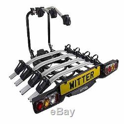 WITTER ZX504 TOWBALL MOUNTED TILTING 4 BIKE CYCLE CARRIER NEW FOR 2015