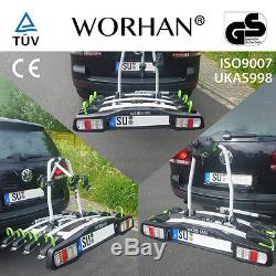 WORHAN Bike Cycle Carrier Rack Towbar Tow Ball Mounted Full LED Lights Premium