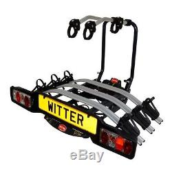 Witter ZX503 Cycle Carrier 3 Bike Foldable Portable TowBar Mounted Bicycle Rack